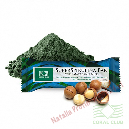 «СуперСпирулина Бар с орехом макадамии - SuperSpirulina Bar with Macadamia Nuts»